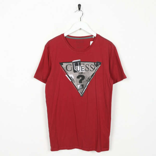 Vintage GUESS Big Graphic Logo T Shirt Tee Red | Small S
