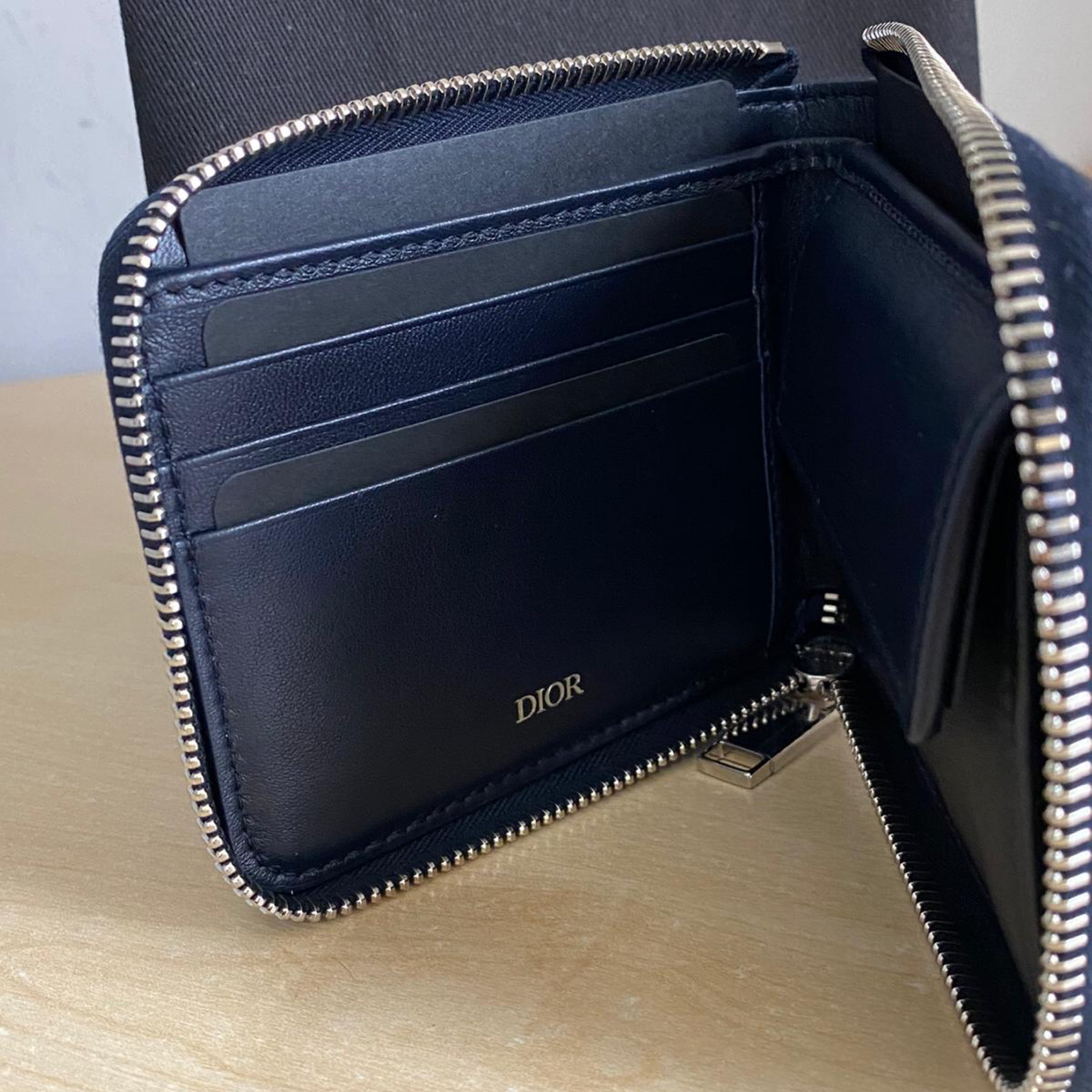 Dior X Jordan Zipped Compact Wallet Blue Navy