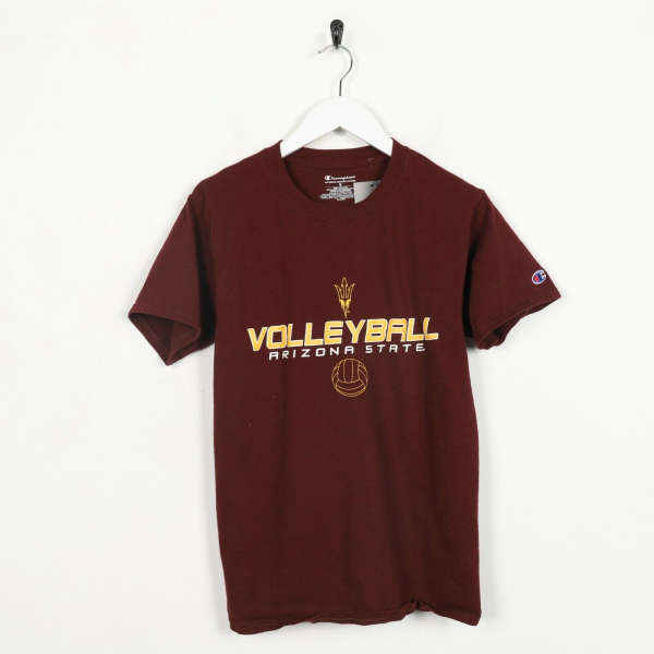 Vintage CHAMPION Arizona State Volleyball T Shirt Tee Burgundy Red Small S