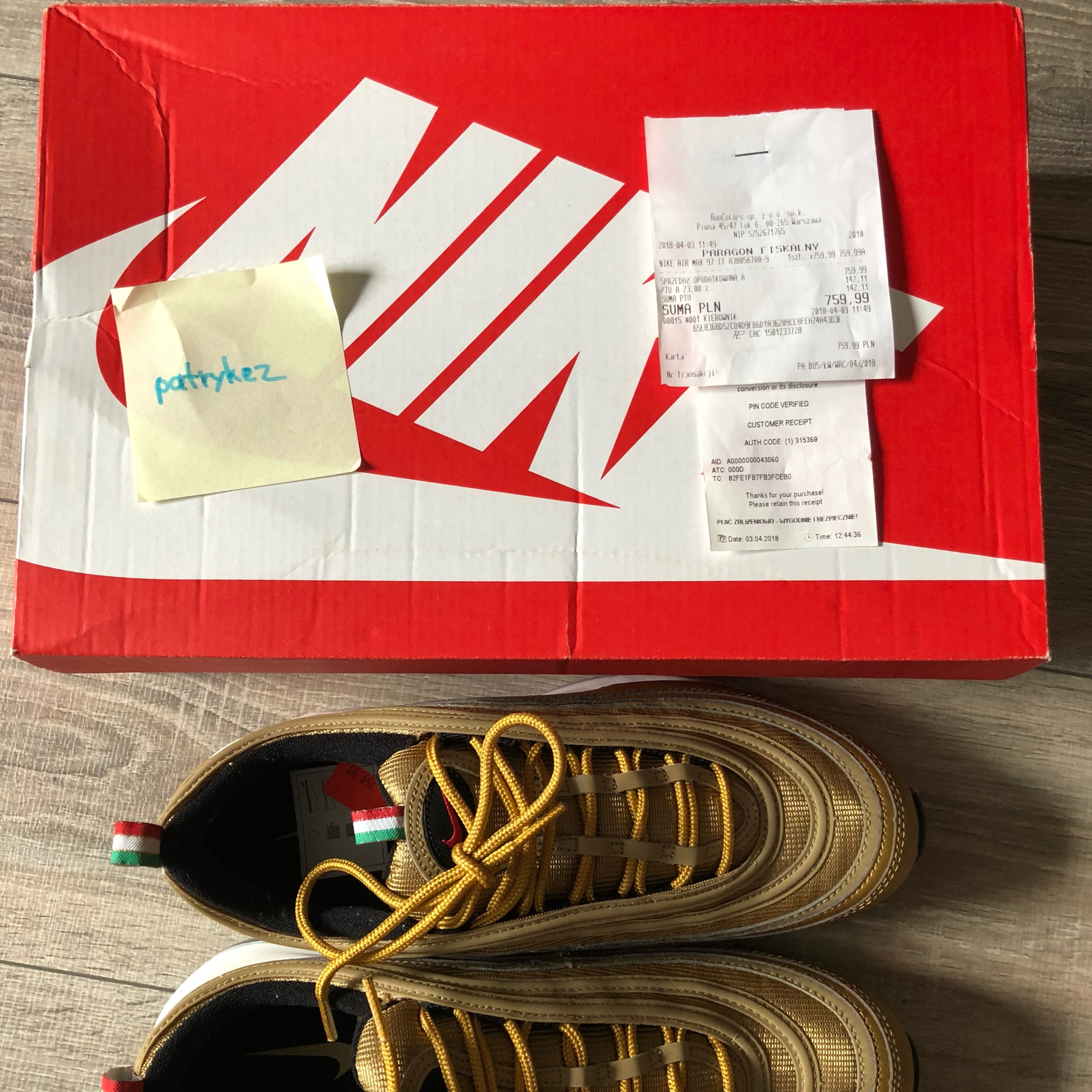 air max 97 gold pin