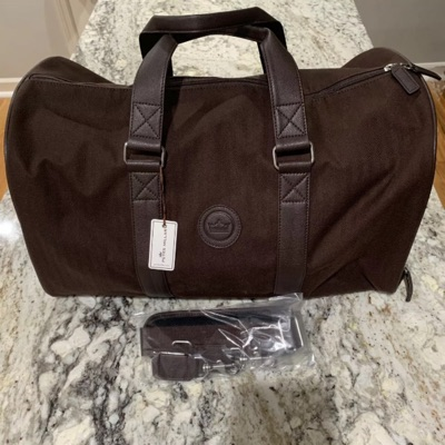 Nwt Peter Miller Chocolate Leather Trim Travel Bag