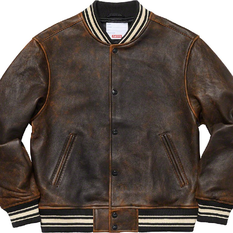 largest selection of 2019 top-rated professional hot-selling professional Supreme Leather Varsity Jacket