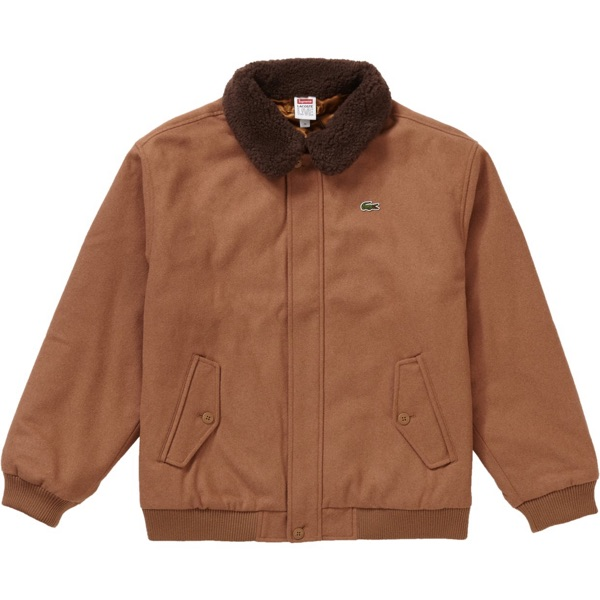 Supreme LACOSTE Wool Bomber Jacket Tan