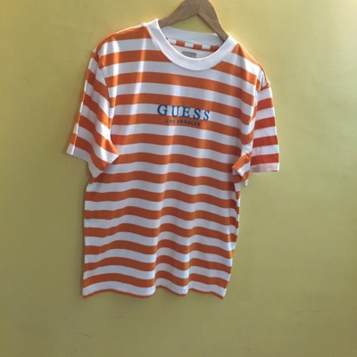 Guess Brand New Orange White Oversized Striped Tee