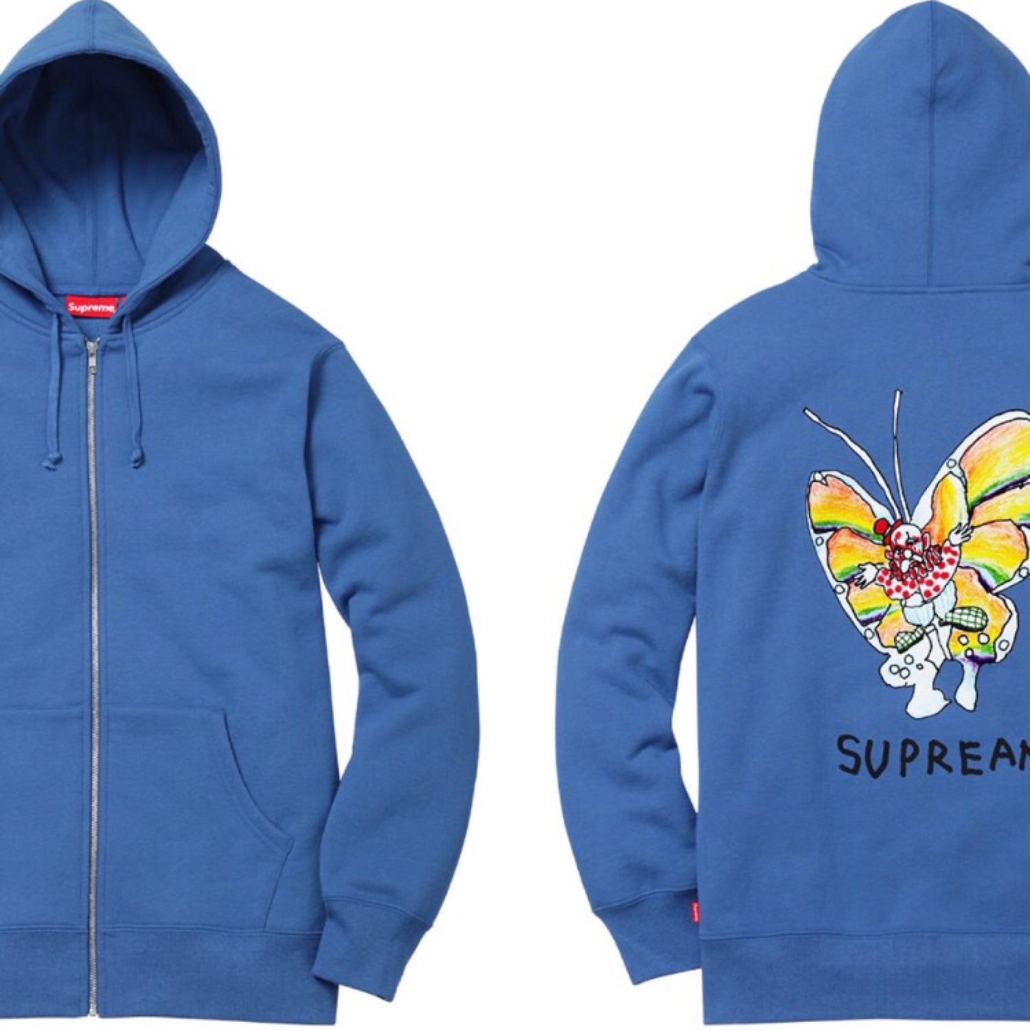 Supreme X Mark Gonz Zip Up Blue Hoodie.
