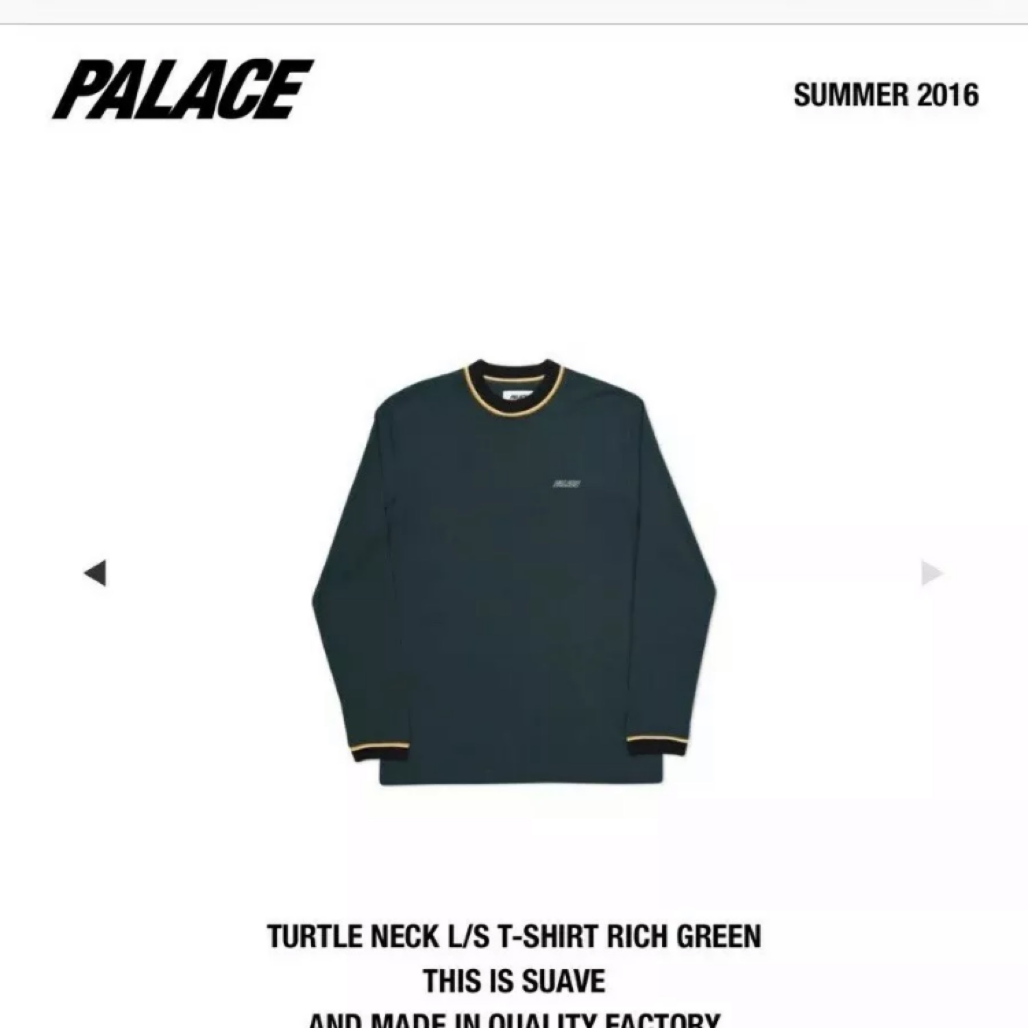 Palace Turtle Neck L/S Tee
