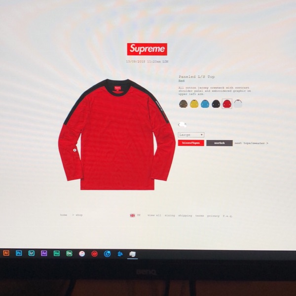 Supreme Paneled L/S Top Red Xl Ds