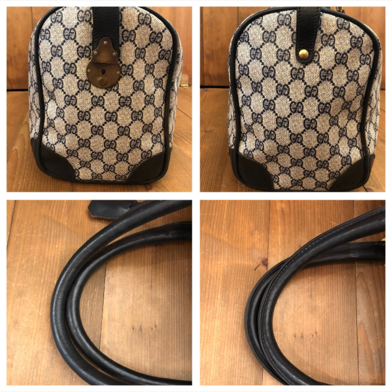 Authentic Gucci Navy Gg Monogram Boston Duffle
