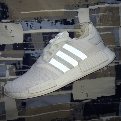 Adidas Nmd R1 White W Black Reflective Size 10 Ds