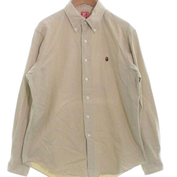 Bape Shirts Beige Cotton Long Sleeves Logo Embroidered