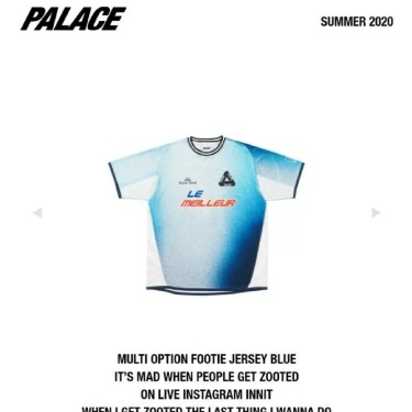 Palace Multi Option Footie Jersey Top - Blue - Large - BNWT