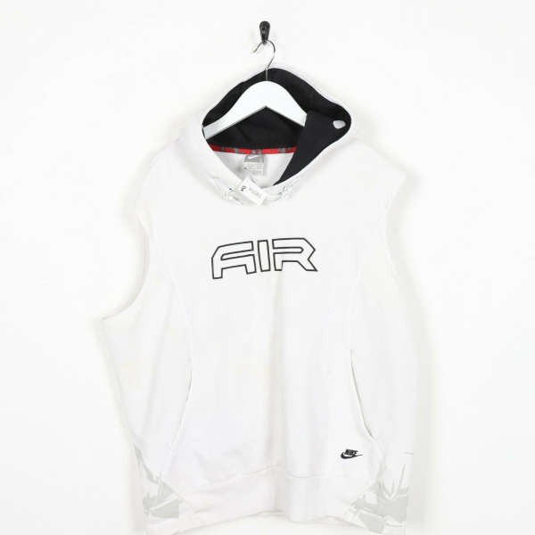 Vintage NIKE AIR Big Logo Sleeveless Hoodie Sweatshirt White Large L Grade B