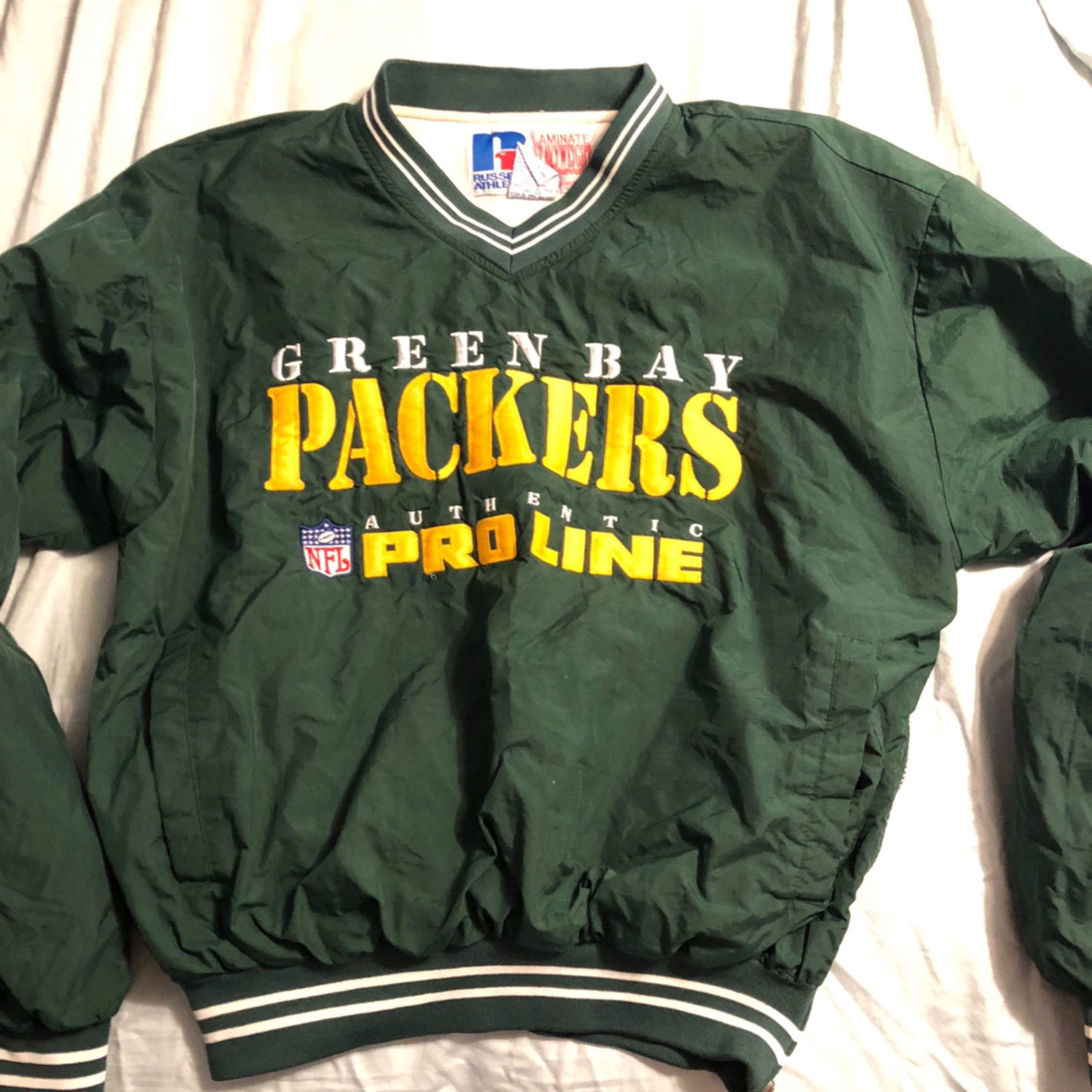 sports shoes fdb0b c48c1 Vintage Green Bay Packers Pullover Jacket
