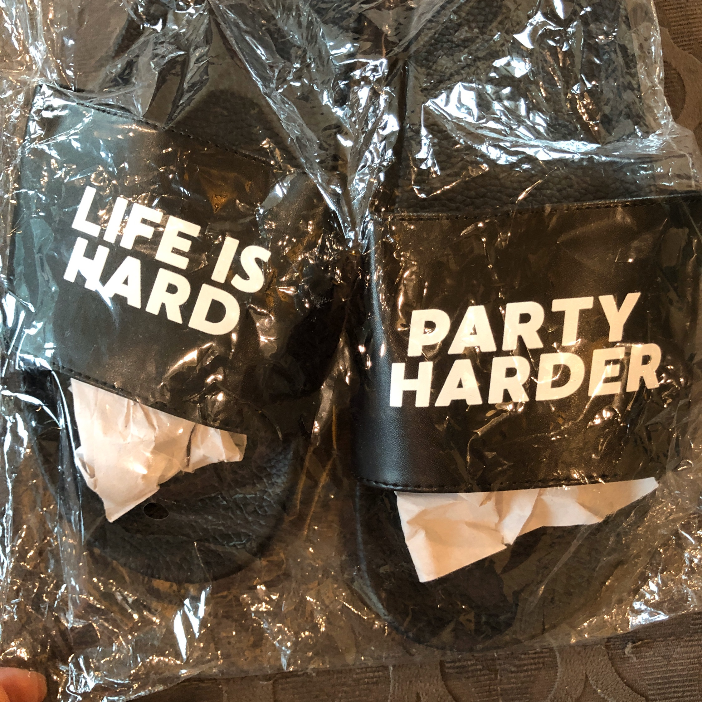 """Alf """"Life Is Hard, Party Harder"""" Sandals (Os) (1)"""