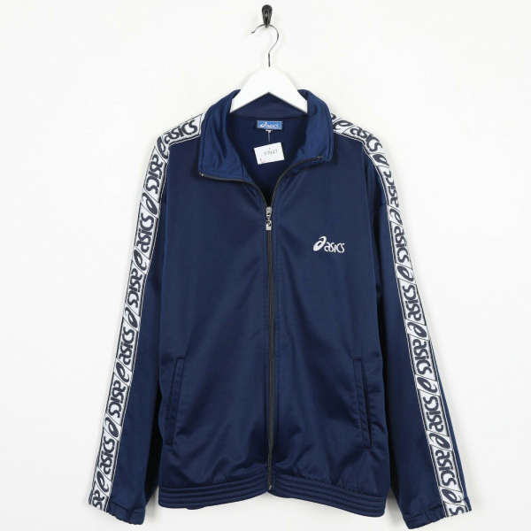 Vintage ASICS Small Logo Tape Arm Tracksuit Top Jacket Navy Blue | Large L