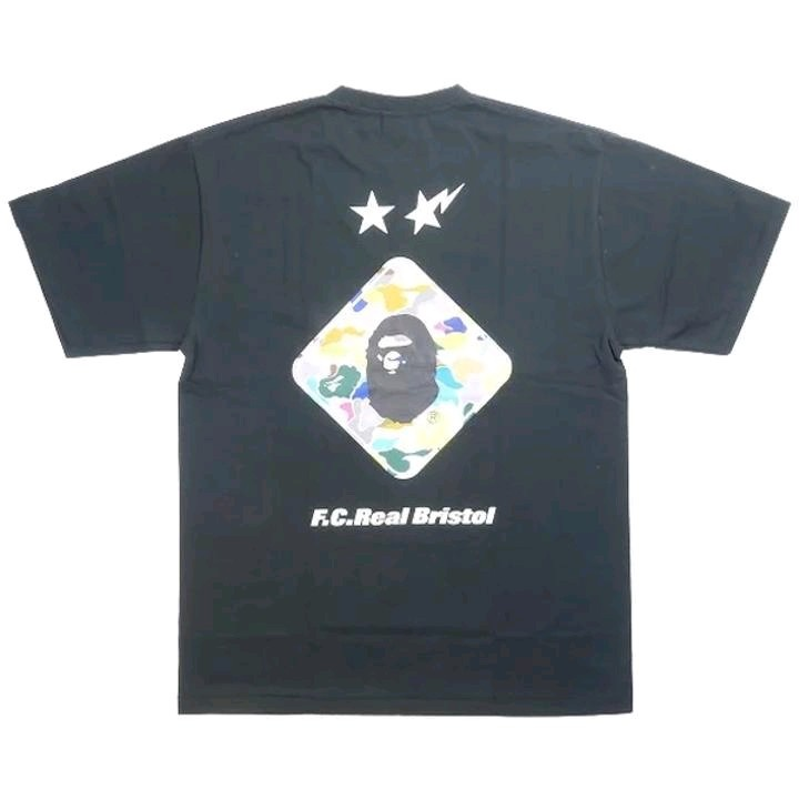 Bape T-Shirts Black Cotton Printed Front and Back Round Neck