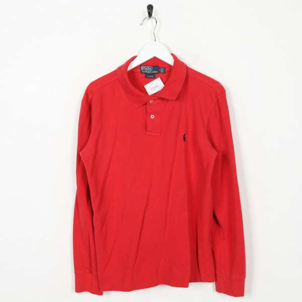 Vintage RALPH LAUREN Small Logo Long Sleeve Polo Shirt Red | Large L