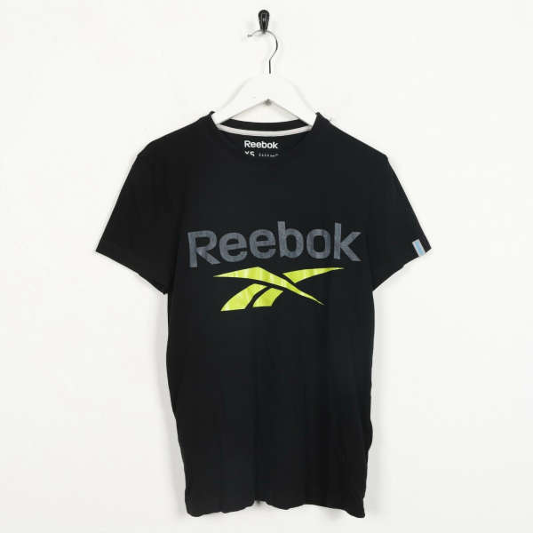 Vintage REEBOK Big Spell Out Logo T Shirt Tee Black | XS