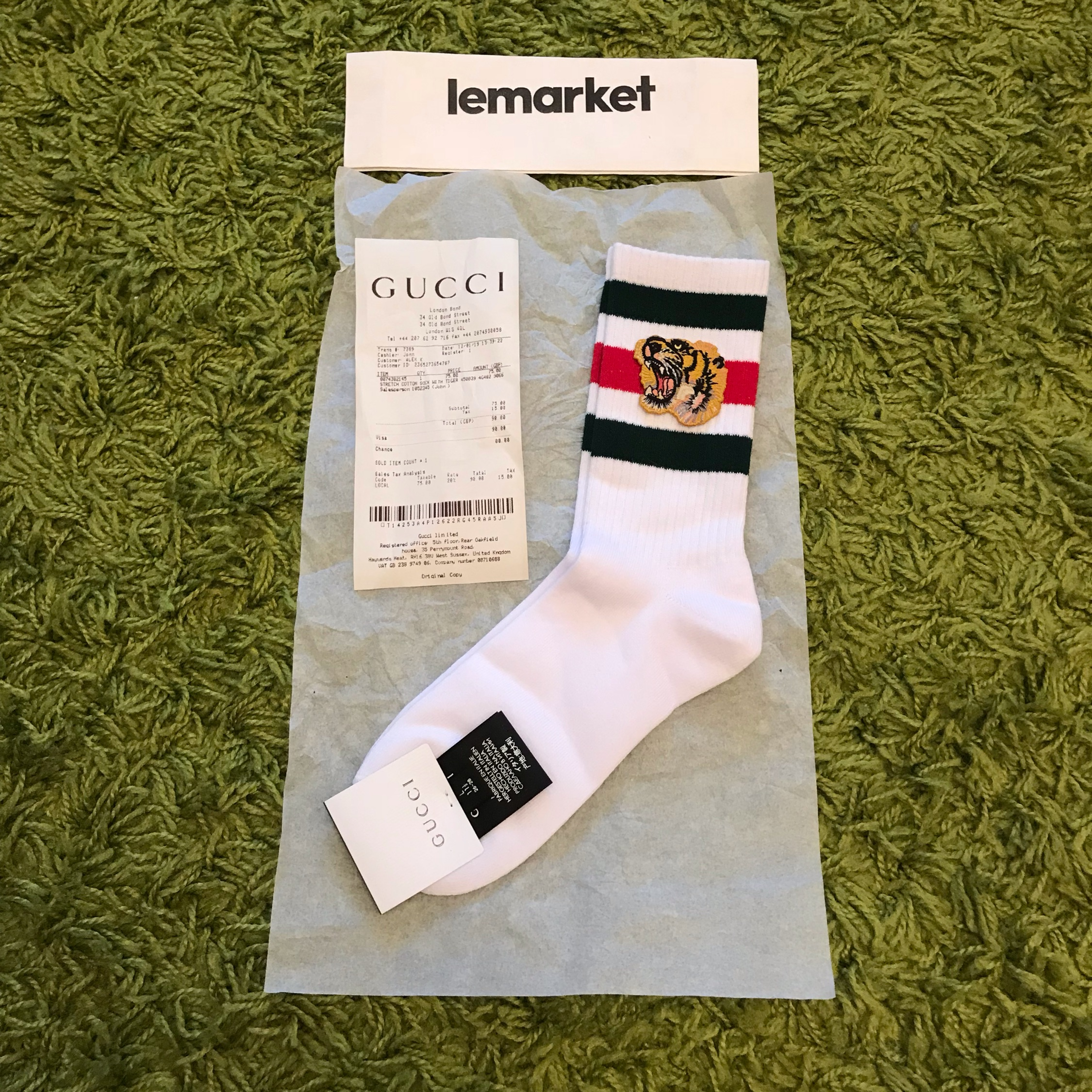 Gucci Cotton Socks With Tiger Ds