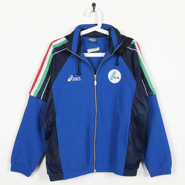 Vintage 90s ASICS Italia Zip Up Hooded Tracksuit Top Jacket Blue | Small S