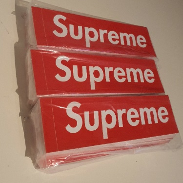 300  Supreme Red Box Logo Stickers 3 bricks