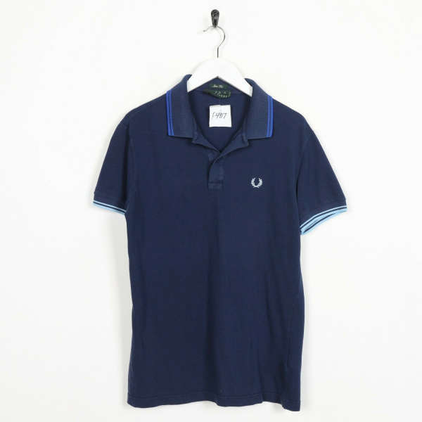 Vintage FRED PERRY Slim Fit Small Logo Polo Shirt Top Navy Blue | Small S