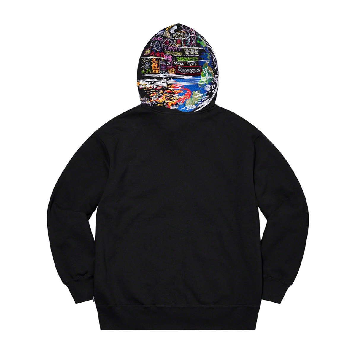 Globe Zip Up Hooded Sweatshirt Black