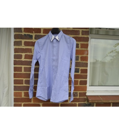 Givenchy 1 Of 1 Blue Gingham Metal Collar Shirt