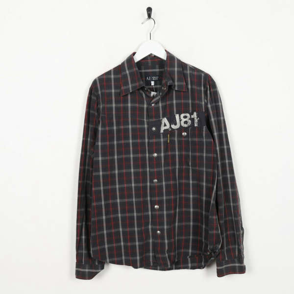 Vintage ARMANI JEANS Check Shirt Brown Red | Large L