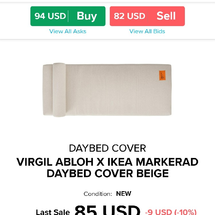 Ikea Markerad x Virgil Abloh Daybed cover