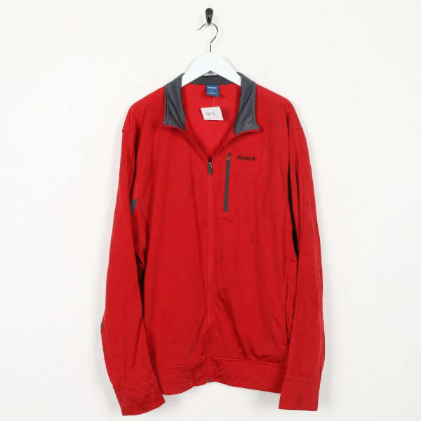 Vintage REEBOK Small Logo Tracksuit Top Jacket Red Large L Grade B