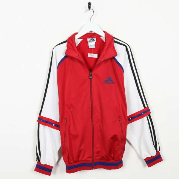 Vintage 90s ADIDAS Small Logo Tracksuit Top Jacket Red White | Small S