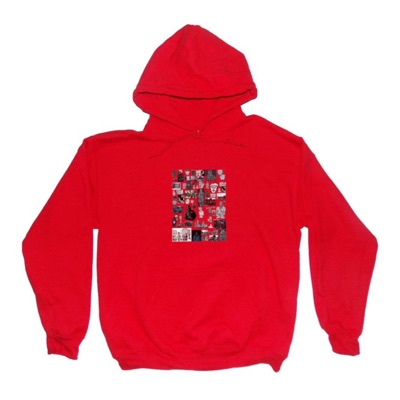 V-98   College Collage Hoodie   Red