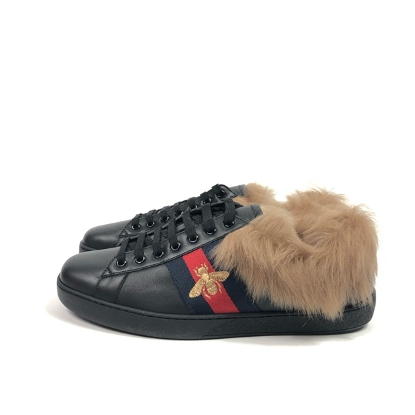 Gucci Fur Bee Ace Sneakers Size 43