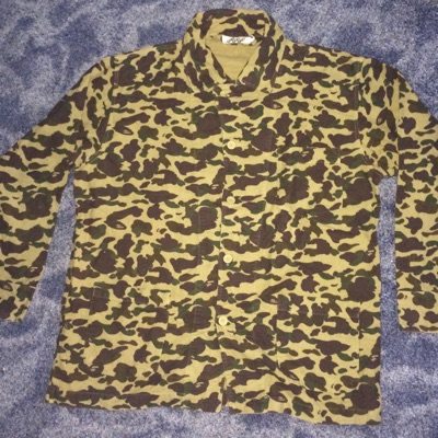 A Bathing Ape Green Camo Trench Jacket