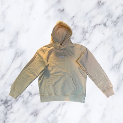 Supreme Tag Logo Hooded Sweatshirt Natural