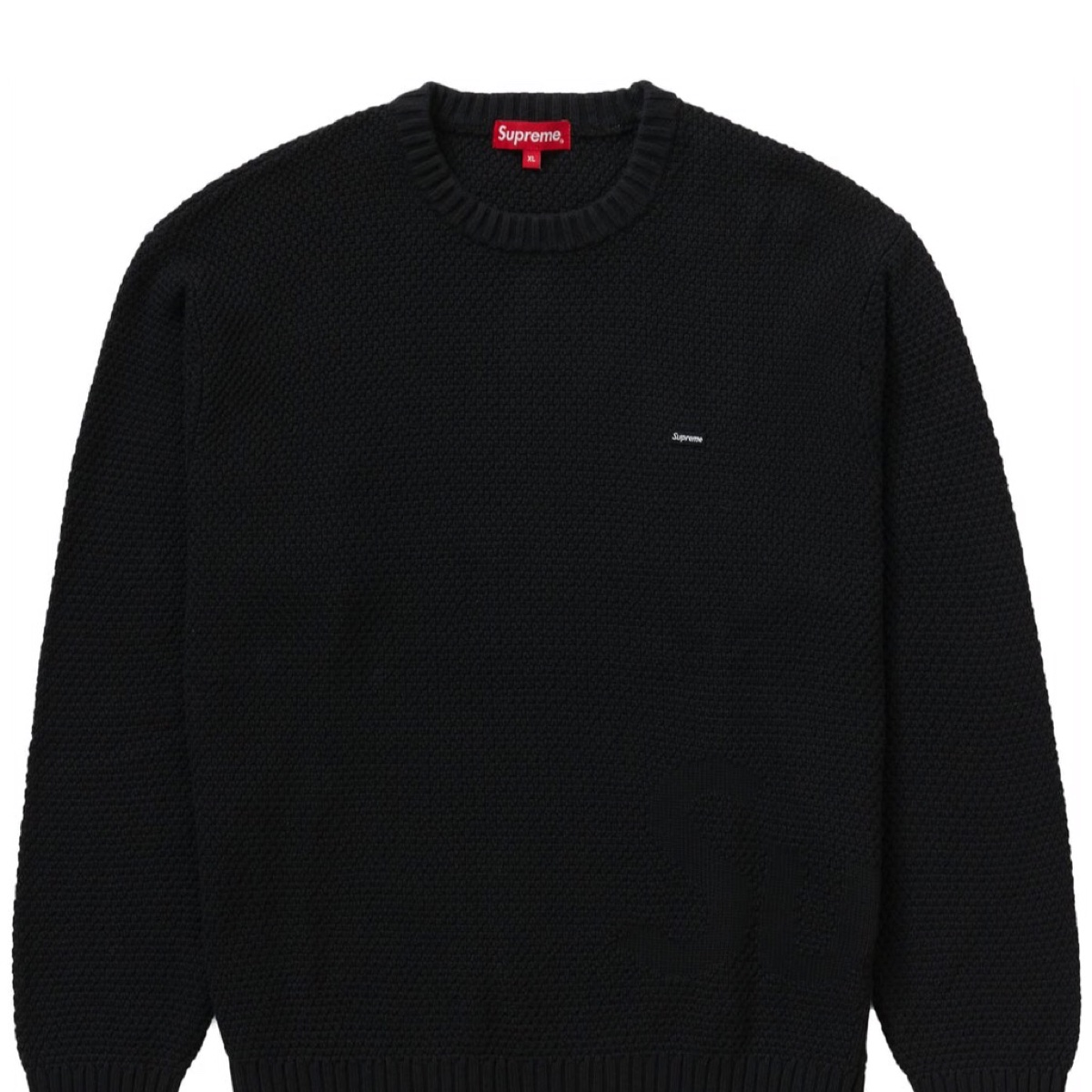 Supreme Textured Small Box Sweater Black XL