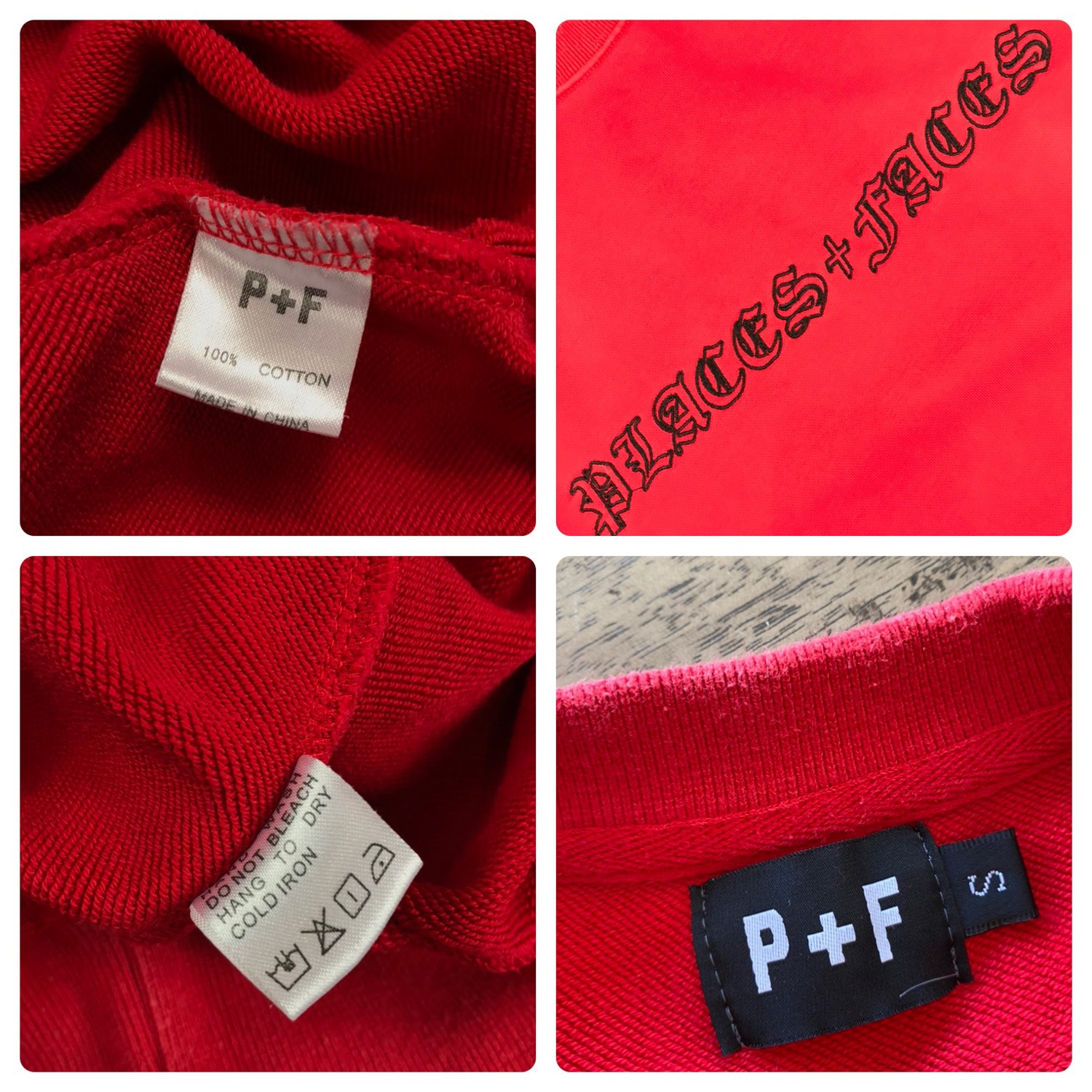 Places + Faces Old English Crewneck Red