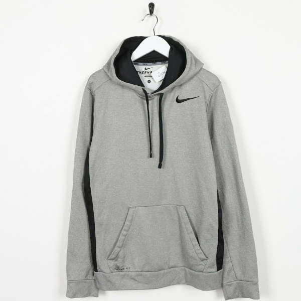 Vintage NIKE Therma-Fit Polyester Hoodie Sweatshirt Grey | Small S