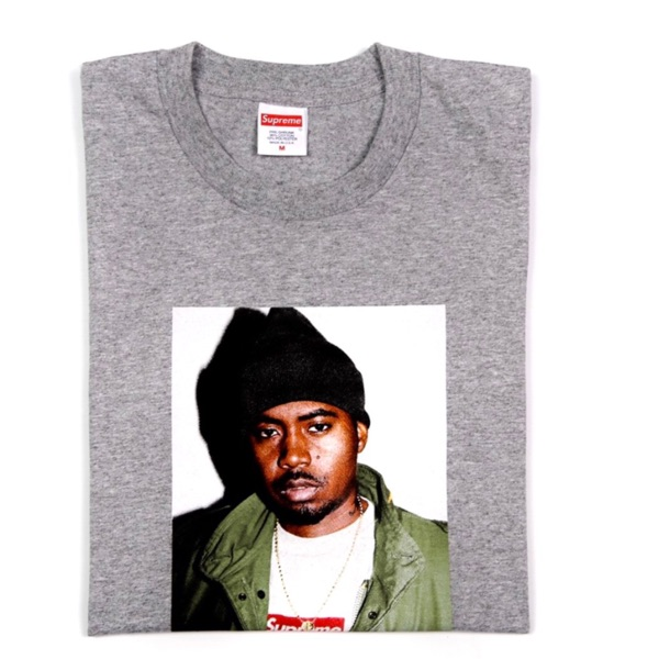 Supreme Nas Photo Tee Grey Medium New