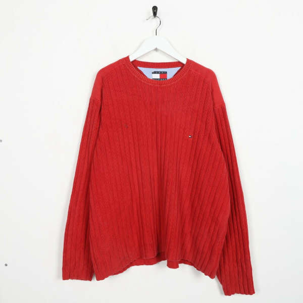 Vintage TOMMY HILFIGER Small Box Logo Knitted Sweatshirt Jumper Red | 2XL