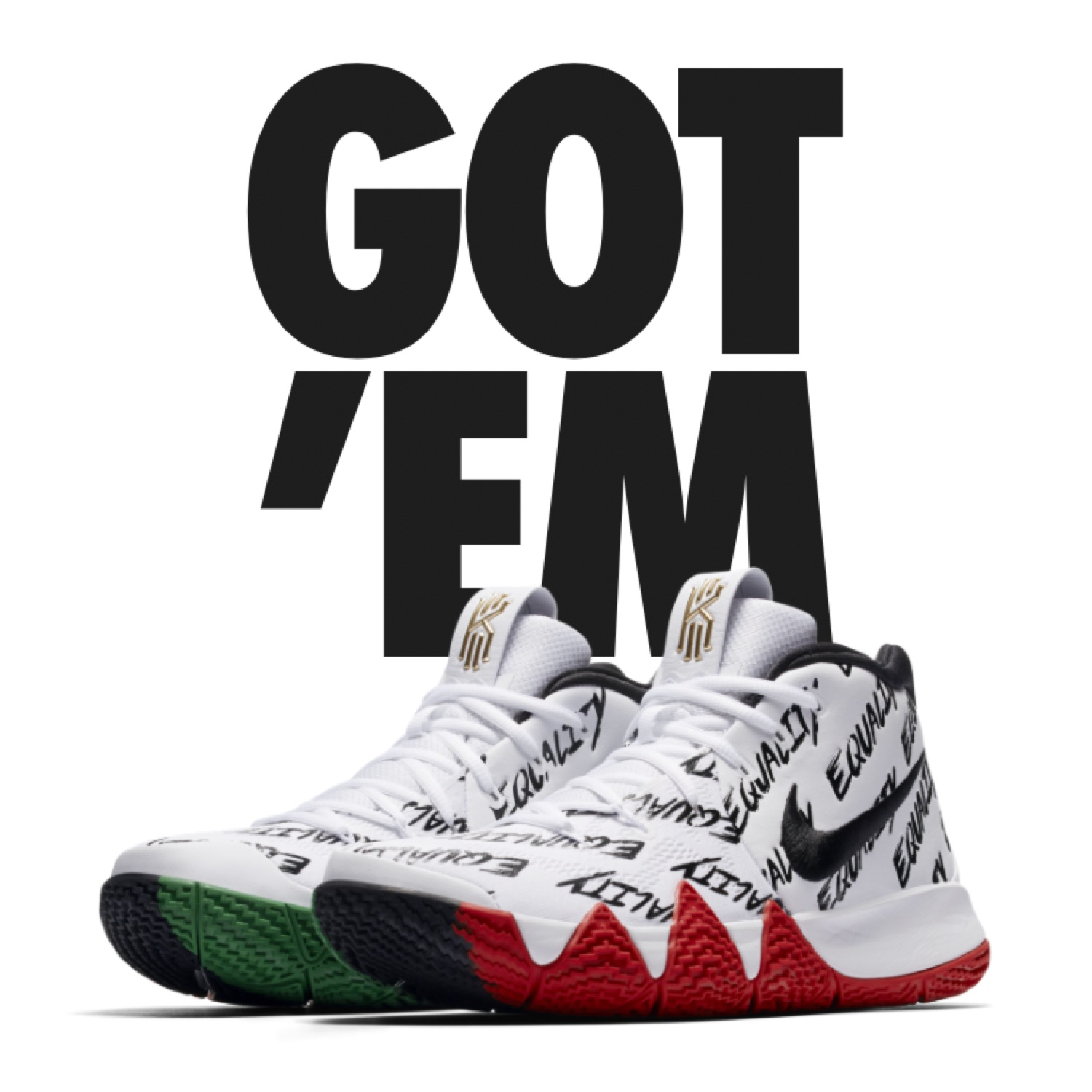 low priced c62fe 3f10d Kyrie 4 Bhm Equality Bhm Size 10.5 2018