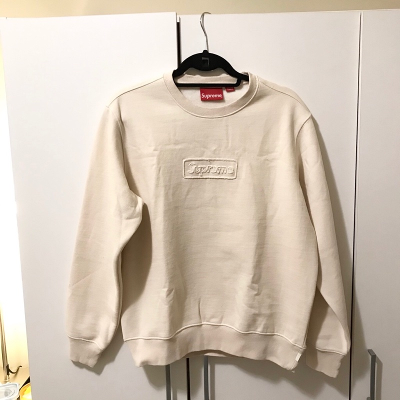 Supreme Cutout Box Logo Crewneck Natural