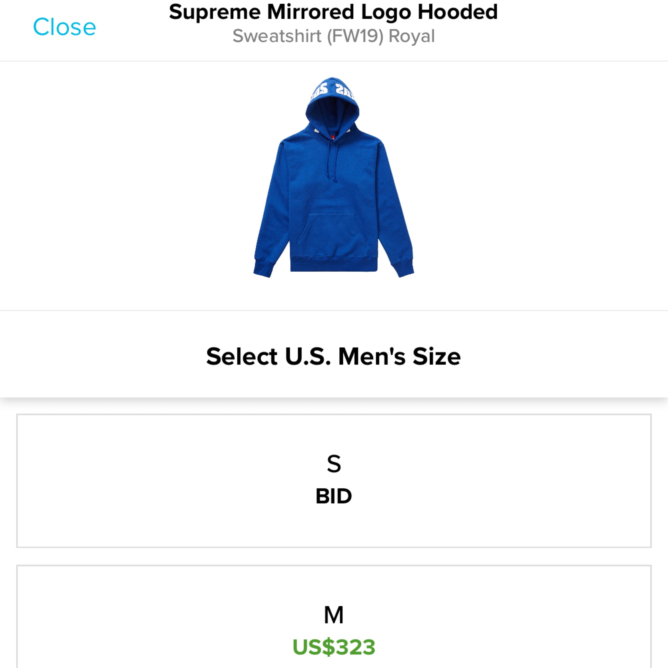 Supreme Mirrored Logo Hooded Sweatshirt (FW19) Royal