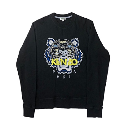 Kenzo Paris Men's Crewneck Jumper Black With Tiger