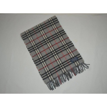 Vintage Burberry of London lambswool grey muffler scarf nova check spring autumn