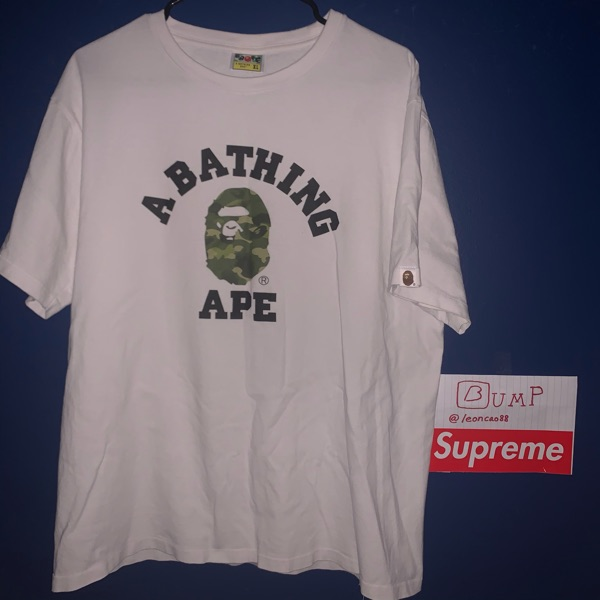 Bape Abc Camo College Logo Tee Green