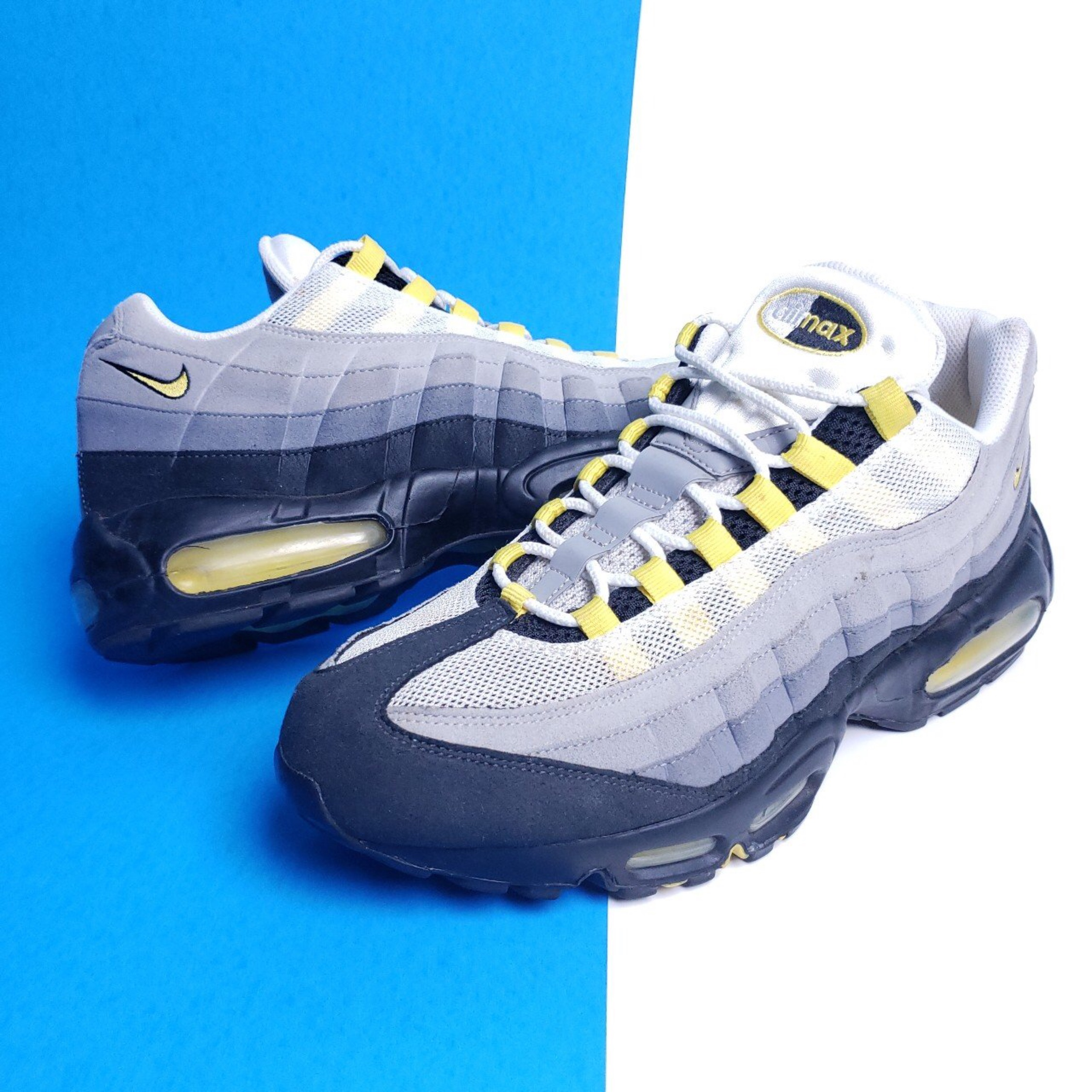 detailed look 99457 fc14a Mens   Nike Air Max 95 trainers Blue – Grey Lemon Wash Yellow. Official ...