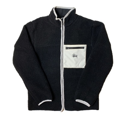 Stussy Fleece Jacket - Black Sherpa