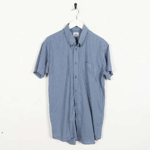 Vintage LACOSTE Small Logo Short Sleeve Button Up Check Shirt Blue | Small S